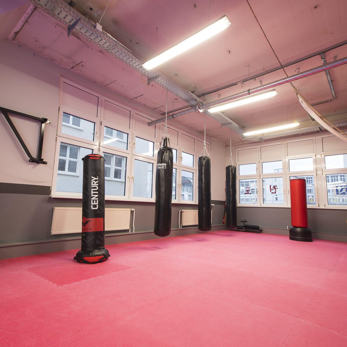 Funktionsbereich der Kampfkunstschule Jena mit verschiedenen Boxsäcken