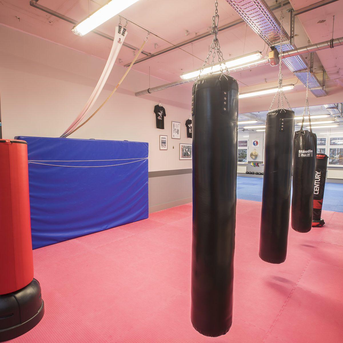 Boxsäcke und Weichbodenmatte für effektives Kampfkunst- und Kampfsporttraining im BUDOPSORT.CLUB Jena