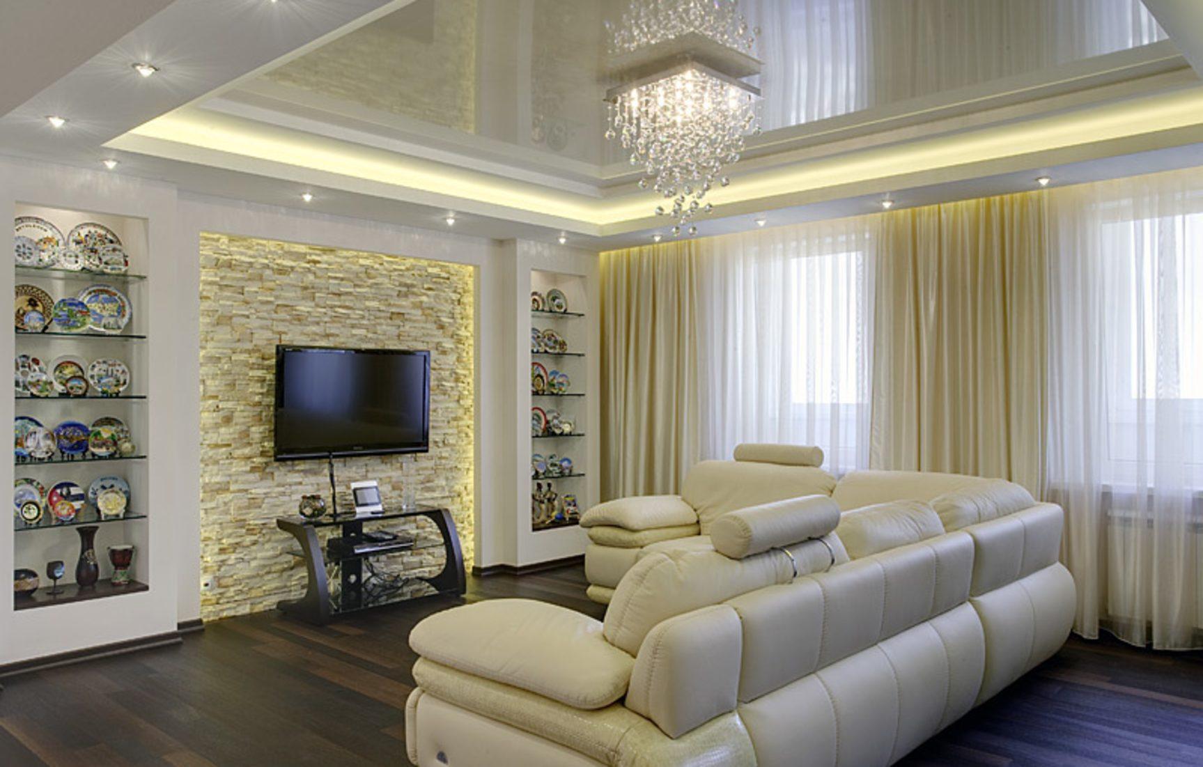 zweistufige Spanndecken, Spanndecke im Wohnzimmer, Spanndecke Büro