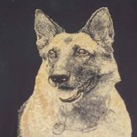 Hundeporträt auf Glas bronzefarbend