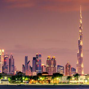 Burj Khalifa bei Dämmerung