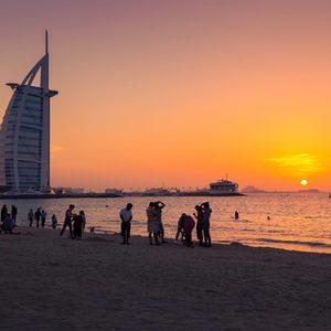 Burj al Arab im Sonnenuntergang