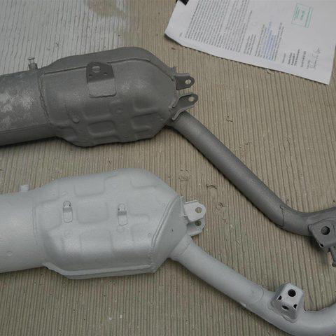 Motorollerauspuff mit Aluminium gegen Rost beschichtet - gestrahlt und beschichtet