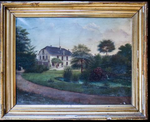 """Dieses Gebäude stand einst dort, wo heute das Herrenhaus, auch """"Hüsli"""" genannt, steht. Die Terrasse ist die selbe geblieben."""