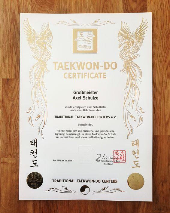 Anerkennungsurkunde als Schulleiter und Großmeister im Tae Kwon-Do - Axel Schulze