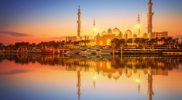 Scheich-Zayid-Moschee bei Dämmerung