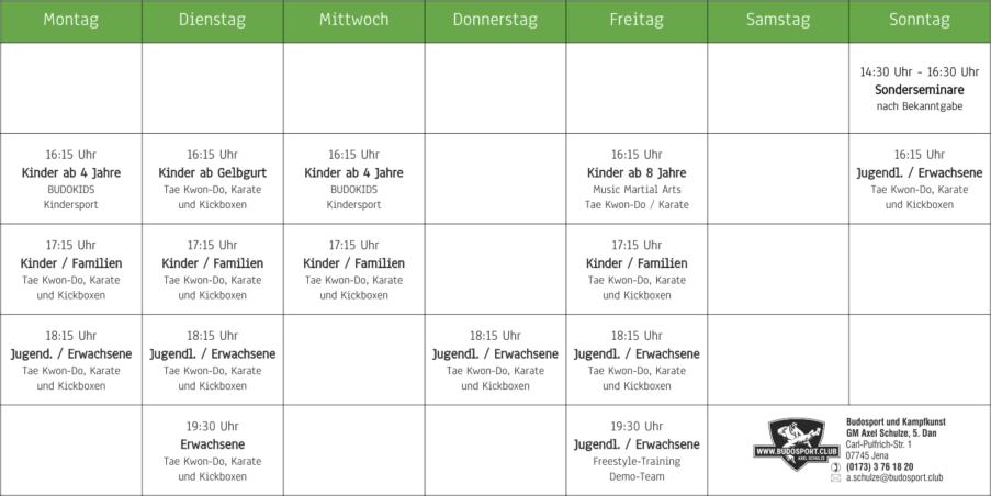 Stundenplan der Kampfkunstschule Jena