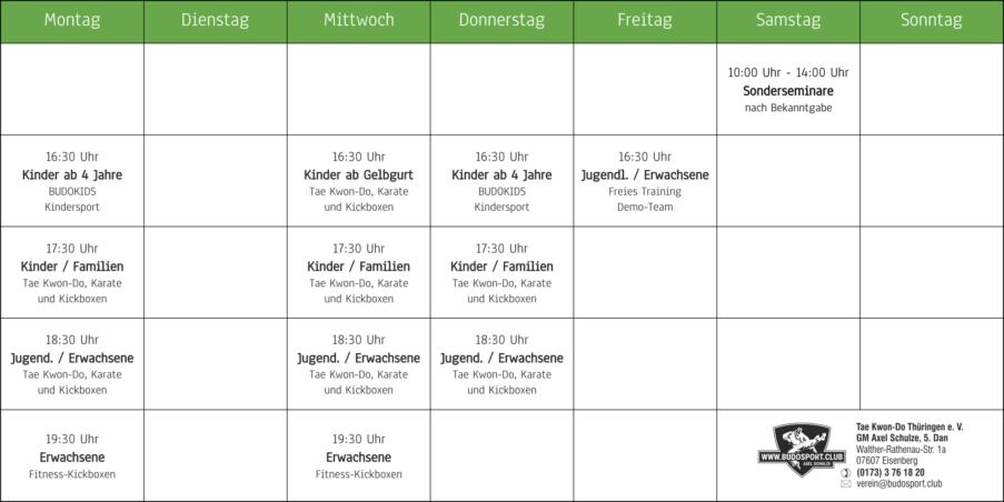 Stundenplan der Kampfsportschule Eisenberg