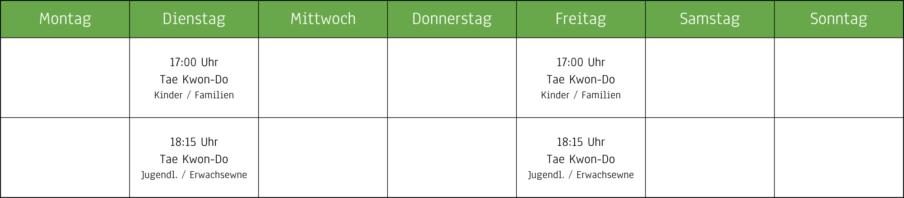 Stundenplan der Kampfsportschule Stadtroda